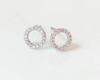 Diamond Circle Earrings,Diamond Circle Studs, Silver Circle Stud Earrings, Pave Diamond Studs, Delicate Earrings, Simple Diamond Earrings