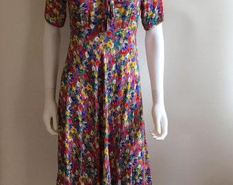 Vintage Dress / Floral / 30s style / M