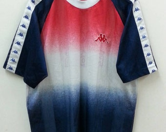 KAPPA Jersey//Striking Color Block//Big Logo //Size F//Made In Japan//Raglan