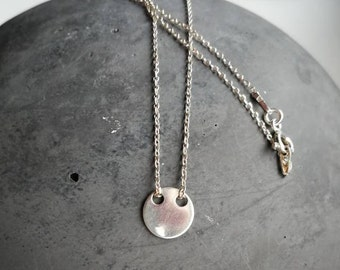 Delicate necklace of sterling silver with round pendant/gift for you/42 cm/personalizable/Christmas/Fancy/Love/Friendship/toll