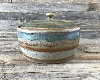 Vintage Stoneware Container With Lid, Studio Pottery