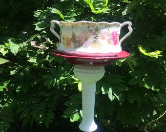 Glass and Ceramic Bird Feeder/Bath