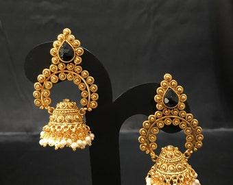 Indian Earrings -  Temple Jewelry - Temple Earrings - Indian Jewelry - Pakistani Jewelry - Bollywood Earrings - Gold and Black Earrings -