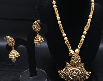 Antique Gold Indian Jewelry Set - Indian Jewelry - Indian Pendant Set - Jhumki Earrings - Bollywood Jewelry - Indian Bridal - Pakistani -