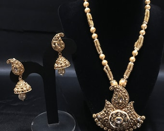 Antique Gold Indian Jewelry Set - Indian Jewelry - Indian Pendant Set - Jhumki Earrings - Bollywood Jewelry - Indian Bridal - Pakistani -