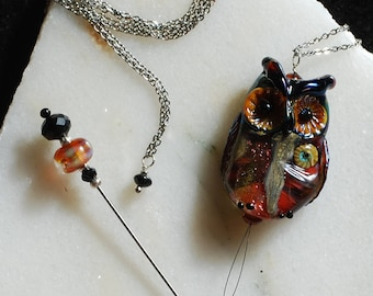 "Laying Tool - Stitch Remover - Needle Threader - Necklace - 35"" - Lampwork Owl - for cross stitch, quilting, sewing, etc."