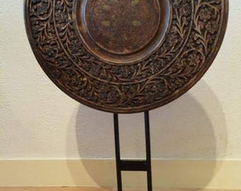 Mandala decoration to put on furniture, made of wood, brass and iron - altar, meditation, yoga