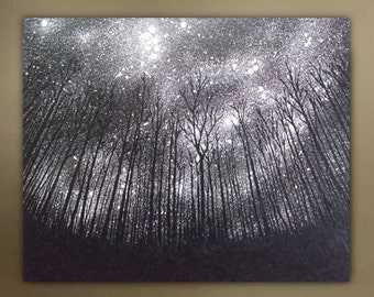Night Sky landscape painting/Forest/Starry night/Constellation/Galaxy/Milkyway/Zodiac/Astrological/Horoscope/Northern sky/Large painting