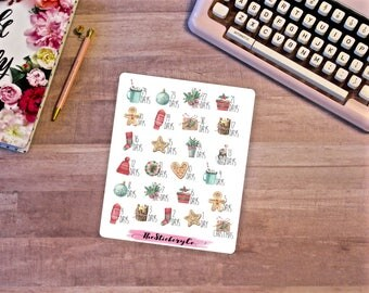 Functional Christmas Countdown Stickers, Functional Planner Sticker, Custom Stickers