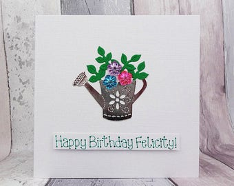 Personalised watering can birthday card, Handmade card with a name, Floral gems, Flowers, Happy birthday card, Card for Gardeners, Garden