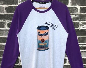 Vintage Andy Warhol T shirt Campbell's soup Long Sleeve Purple Chess Print by US Pop Art Street Art Size M Basic Tee/Street Wear/Art Wear