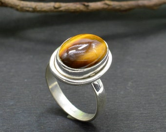 Natural Tiger's Eye Oval Gemstone Ring 925 Sterling Silver R356