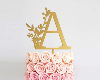 Wedding  Cake Topper Letter Cake Topper Monogram Wedding Cake Topper Single Letter Cake Topper Gold Wedding Cake Topper Anniversary Decor