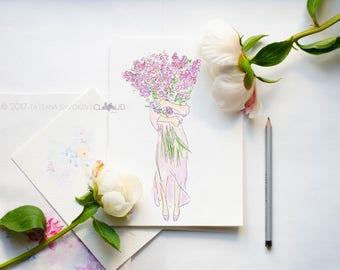 Lavender girl Fashion illustration Fashion print Fashion sketch Fashion art print Fashion flower illustration Fashion girl illustration
