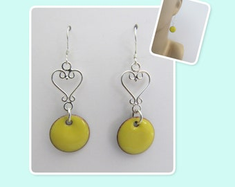 Buttercup Yellow Circle Enamel Sterling Silver Heart Earrings