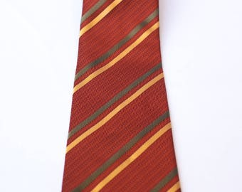 Pierre Cardin tie silk, autumnal orange tie with vertical lines of green and yellow, Excellent Vintage, tie tie
