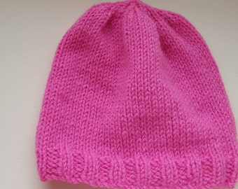 Baby Beanie hat, Handmade, Hand knitted Pink Baby Wool, Matching Bootees available, Gift, Treat, Baby shower, Newborn, Warm, Cosy, Pink hat.