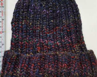 Adult's Beanie hat, Handmade, Designed, Hand knitted, Soft Black and Rainbow, Chunky yarn, Gift, Treat, Camping, Walks, Warm Winter Beanie.