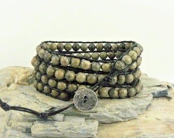 Leather Wrap Bracelet, Leather Bracelet, Leather Wrap, Beaded Leather, Bohemian Bracelet, Boho Bracelet, Stone Bracelet, Beaded Wrap