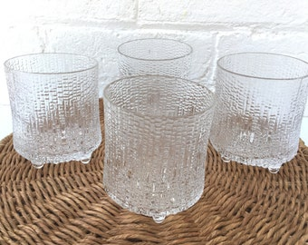 Set of 4 Iittala Ultima Thule footed tumblers 200ml capacity Made in Finland Tapio Wirkkala 1968 design Vintage glassware