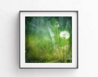 Dandelion wall art, Emerald art, Printable poster, Digital download prints, Dandelion art, Boho wall decor, Greenery, Green