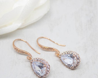 Earrings rose gold bridal wedding jewelry Bridal jewelry