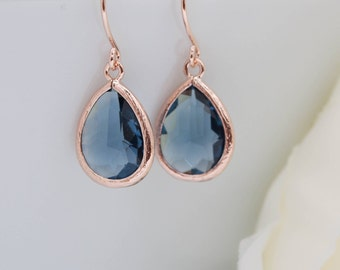Earrings rose gold drops blue dark blue