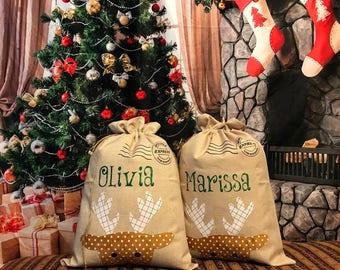 Personalized Burlap Reindeer Santa Sack, santa sack, personalized, christmas bag, santa bag, burlap bag, burlap santa bag, santa, bag