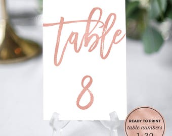 Rose Gold Wedding Table Numbers Printable Template Download. Calligraphy Wedding Table Numbers. DIY Table Numbers 1-30 PDF Instant Download