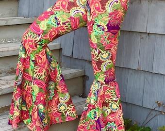 Flower Power High Waisted Bellbottom Hippie Pants