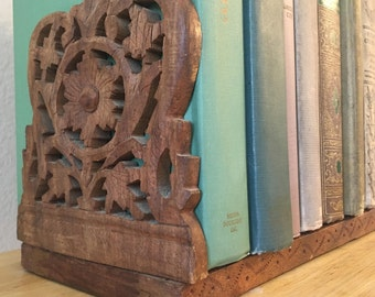 Vintage Carved Floral Teak Wood Adjustable Length Bookend