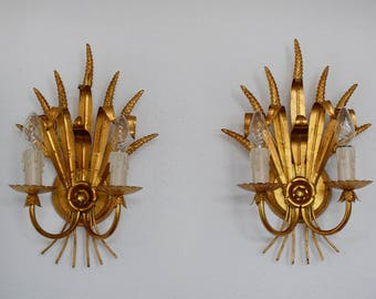 Pair of gilt wheat sheaf wall lamp sconces Frederick Cooper Hans Kögl Amerang gilded ähren wall lamp gold hollywood regency 1950
