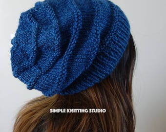 Fashionable Slouchy Hat || Knit Hat, Beanie Hat, Slouchy Beanie  (Color: Ocean Blue / Navy)