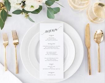 Wedding Menu Template   Printable Wedding Menu   DIY Wedding Menu Printable   Wedding Dinner Menu Template   Mr. and Mrs. Collection