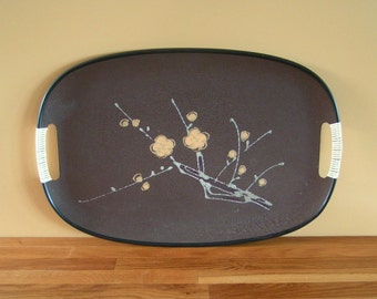 1960s Hand-Painted Glitter-Embellished Serving Tray Cool Dark Brown Tray with Cherry Blossom Design and Vinyl-Wrapped Handles