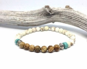 Boho beaded bracelet elastic with light brown/beige and cream colored beads of natural stone, Turquoise Heishi beads and silver beads