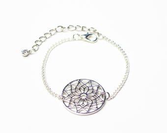 Silver Buddhist mandala bracelet