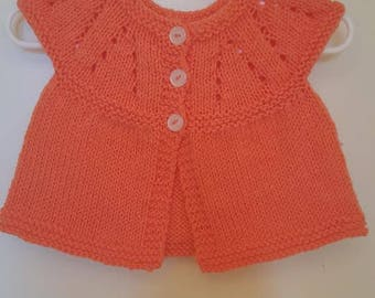 Handmade knit baby sweater and hat