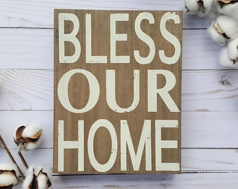 Bless Our Home Sign, Farmhouse Decor, Wedding Gift, Housewarming Gift, Gallery Wall Decor, Block Sign, Religious Sign, Rustic Sign