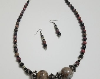 Multi Colored bead necklace with matching earrings