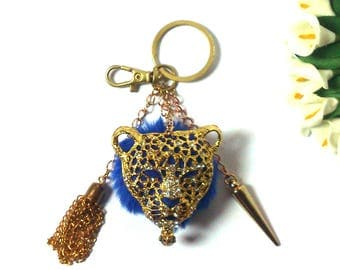Keychain Jaguar Tassel - Blue Pom Pom - Diamond - Horn Pendant - Golden Fashion Keychain - Gift for Girls - Gift for Women