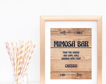 Printable Wood Sign Baby Shower Mimosa Bar Sign Instant Download Woodland Themed Baby Shower Tribal Arrow Momosa Bar Sign Table Decor BBL