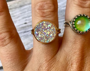 Beautiful Lilac Titanium Druzy Ring, Crystal Cabochon, 12mm, Bridesmaids