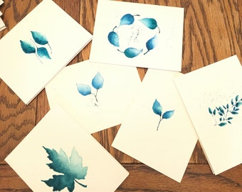 Turquoise Leaves, hand painted cards, set of six