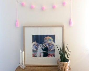 Mini Pom Pom Garland in Powder Pink - Handmade UK
