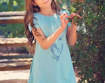 Girl Blue Dress, Tween dress, Owl Dress Girls, Everyday dress with pockets, Knit dress, Birthday dress, Childrens clothing