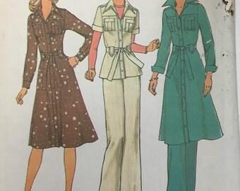 Vintage 1976 Simplicity 7649 Safari Chic Shirtdress Top & Pants Size 12