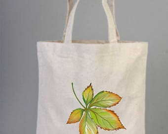 Cotton Bags Logo, Autumn Leaves, Autumn  Leaves Tote Bag, Fall Tote Bag, Hand Drawed Bag, Autumn Theme Tote, Canvas Bag, Natural Bag