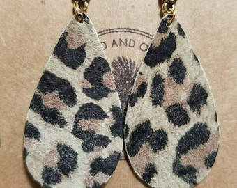 Leopard Leather Earrings/Teardrop/Studs