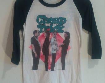 Vintage Cheap Trick Concert Tour T-shirt Small/Medium jersey 80's 3/4 Sleeve